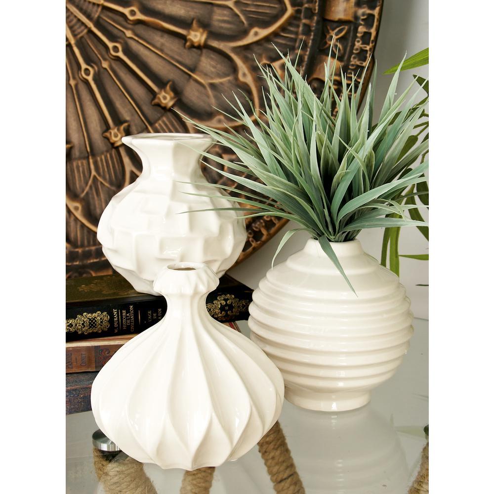 Litton Lane 6 in. Sculpted White Ceramic Decorative Vases (Set of 3)