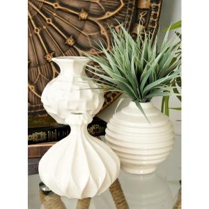 6 in. Sculpted White Ceramic Decorative Vases (Set of 3)