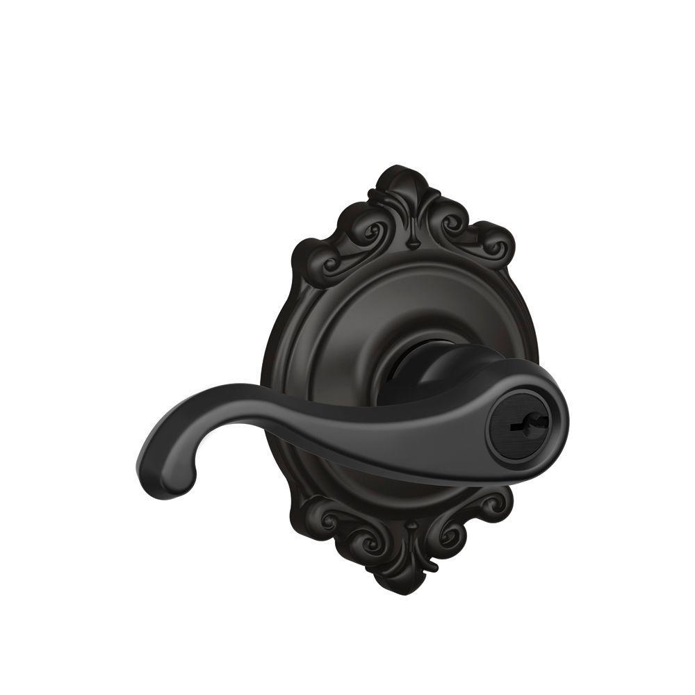 Callington Matte Black Keyed Entry Door Lever with Brookshire Trim - Antique - Black - Door Hardware - Hardware - The Home Depot