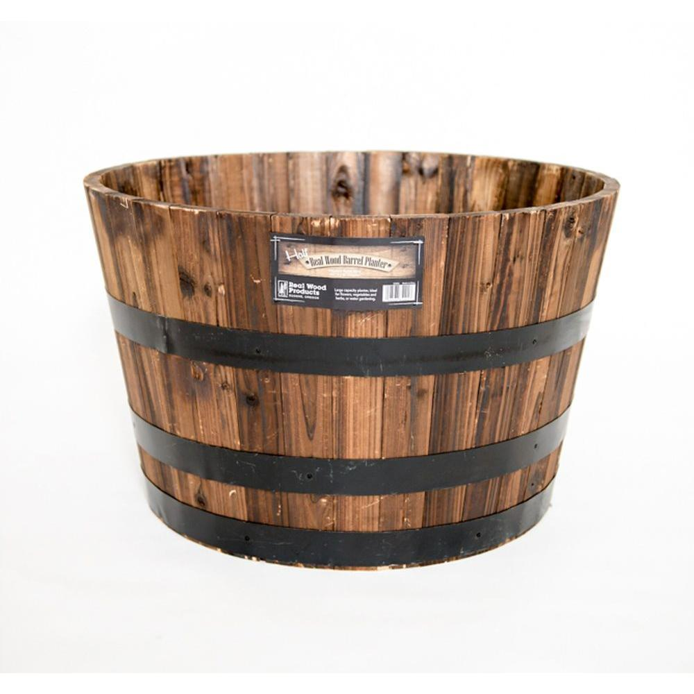 Real Wood 26 In Dia Cedar Half Whiskey Barrel Planter G3056 The