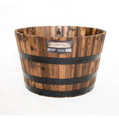 Real Wood 26 in. Dia Cedar Half Whiskey Barrel Planter