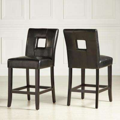 24 in. Sorrento Black Cushioned Bar Stool (Set of 2)