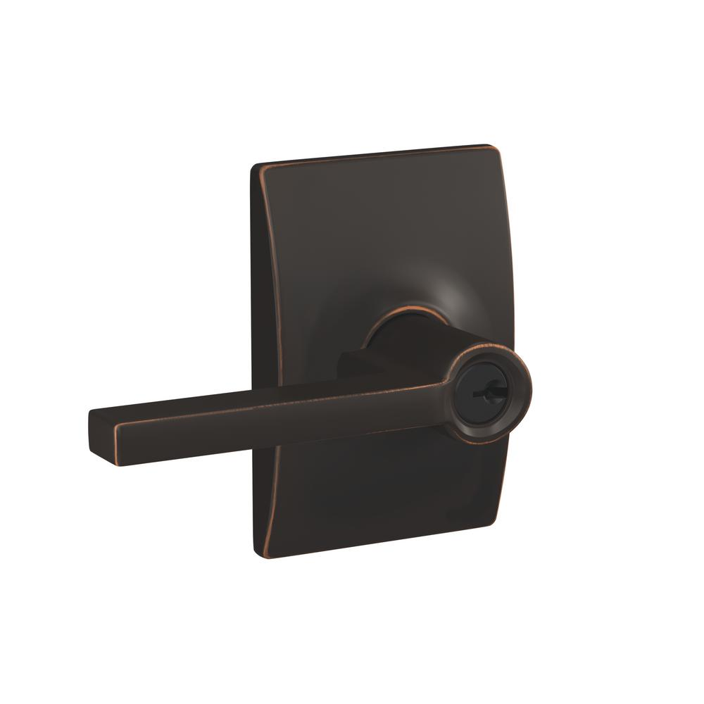 Schlage Custom Latitude Aged Bronze Keyed Entry Door Lever