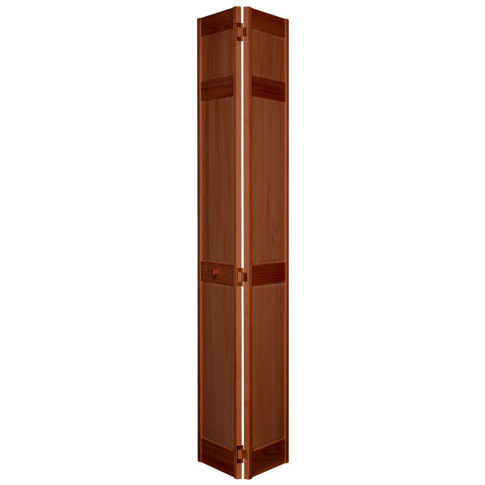 Home Fashion Technologies 6-Panel MinWax Red Oak Solid Wood Interior Bifold Closet Door-DISCONTINUED