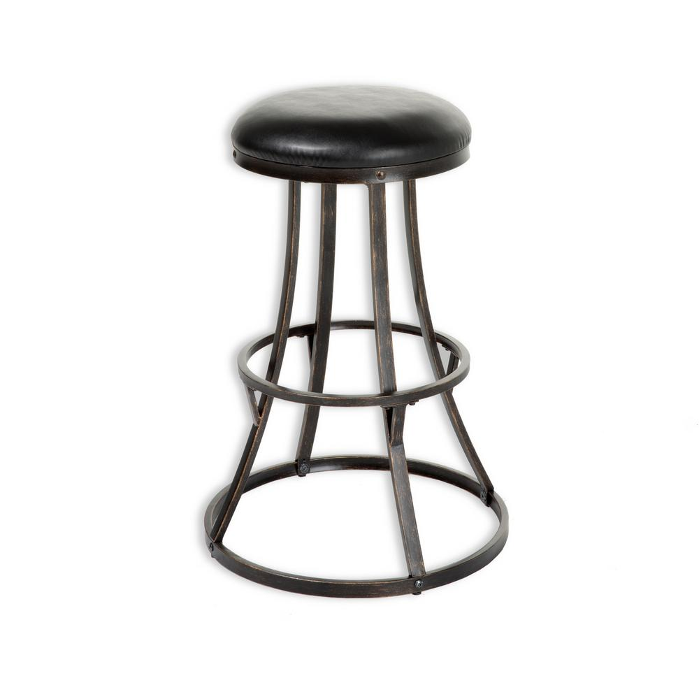 Dover 30 in. Metal Bar Stool with Black Upholstered Swivel-Seat and