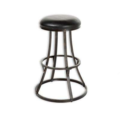 Dover 30 in. Metal Bar Stool with Black Upholstered Swivel-Seat and Blackened Bronze Frame Finish