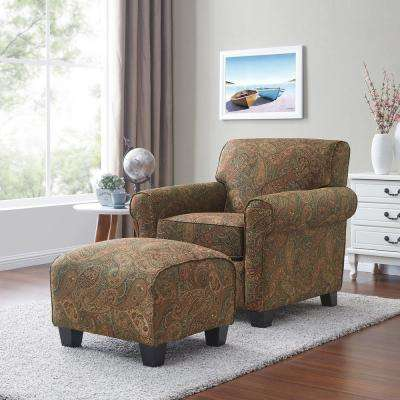 Winnetka Arm Chair and Ottoman in Paisley