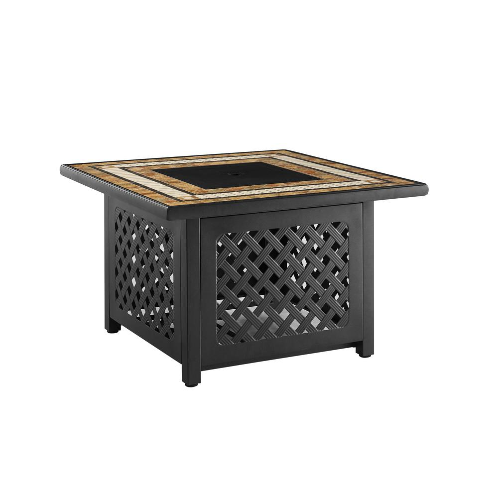 Crosley Tucson Brown Square Metal Outdoor Fire Table