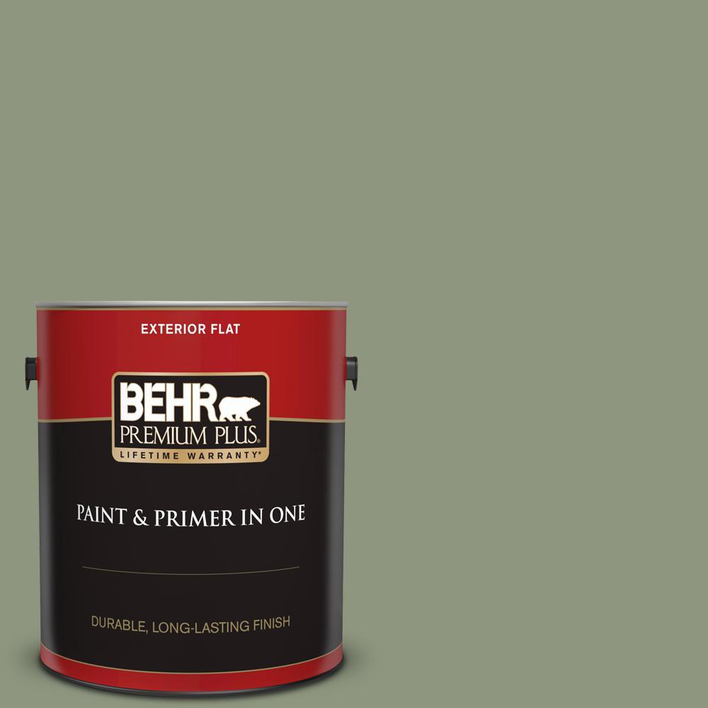 Behr Premium Plus 1 Gal 700f 6 Dense Shrub Satin Enamel Exterior Paint And Primer In One 934001 The Home Depot