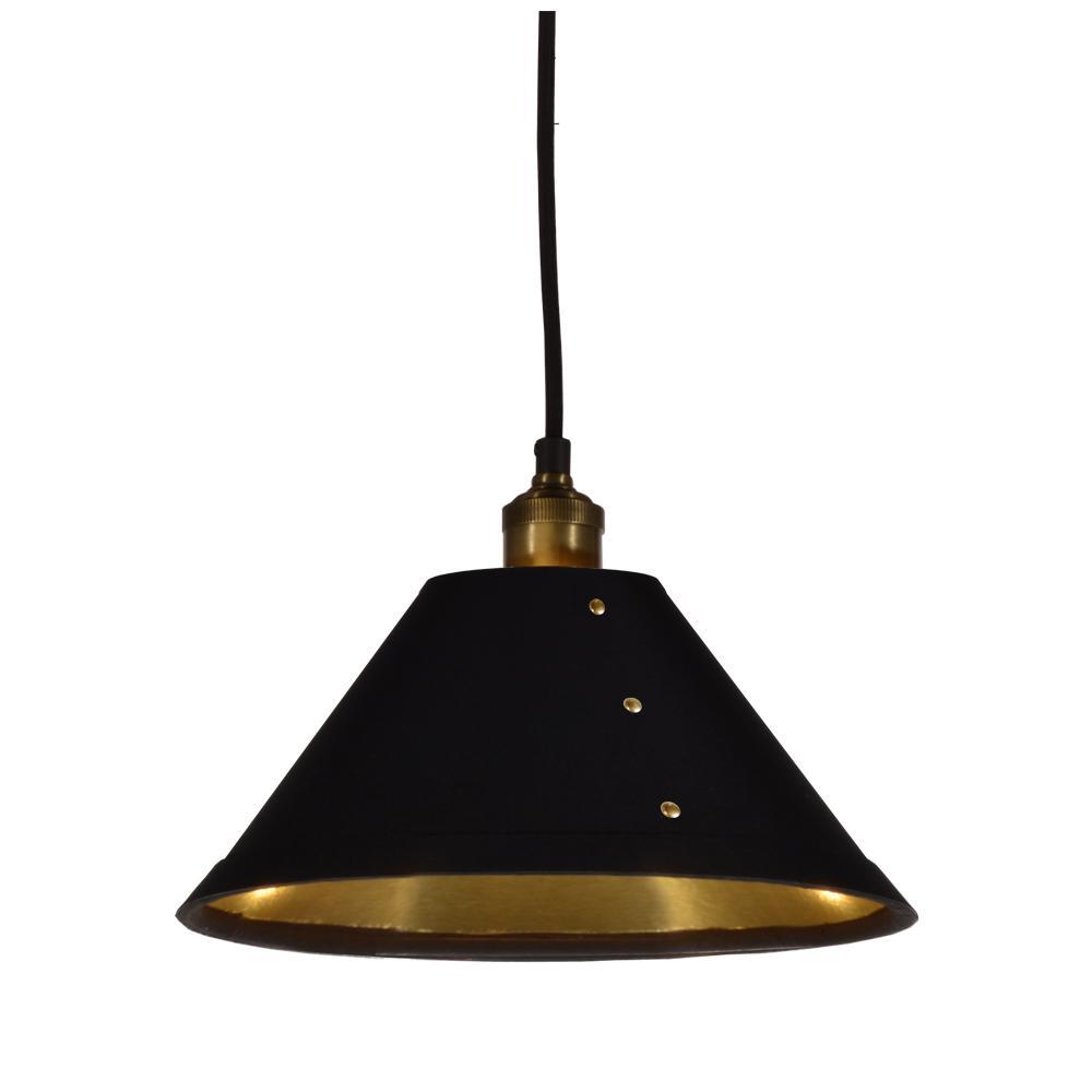1-Light Black on Gold Pendant