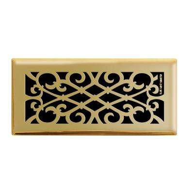 4 in. x 10 in. Elegant Scroll Floor Register in Polished Brass