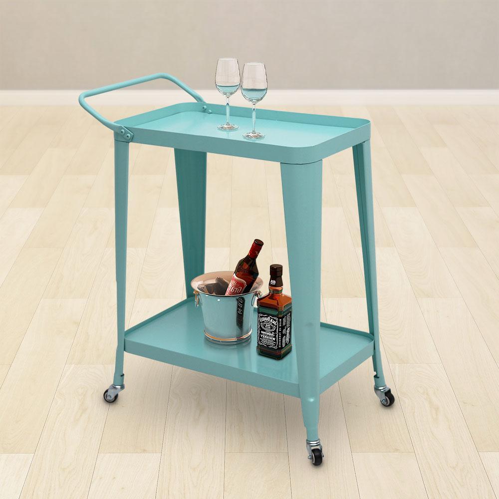 Teal Metal Frame Bar Cart with Handle