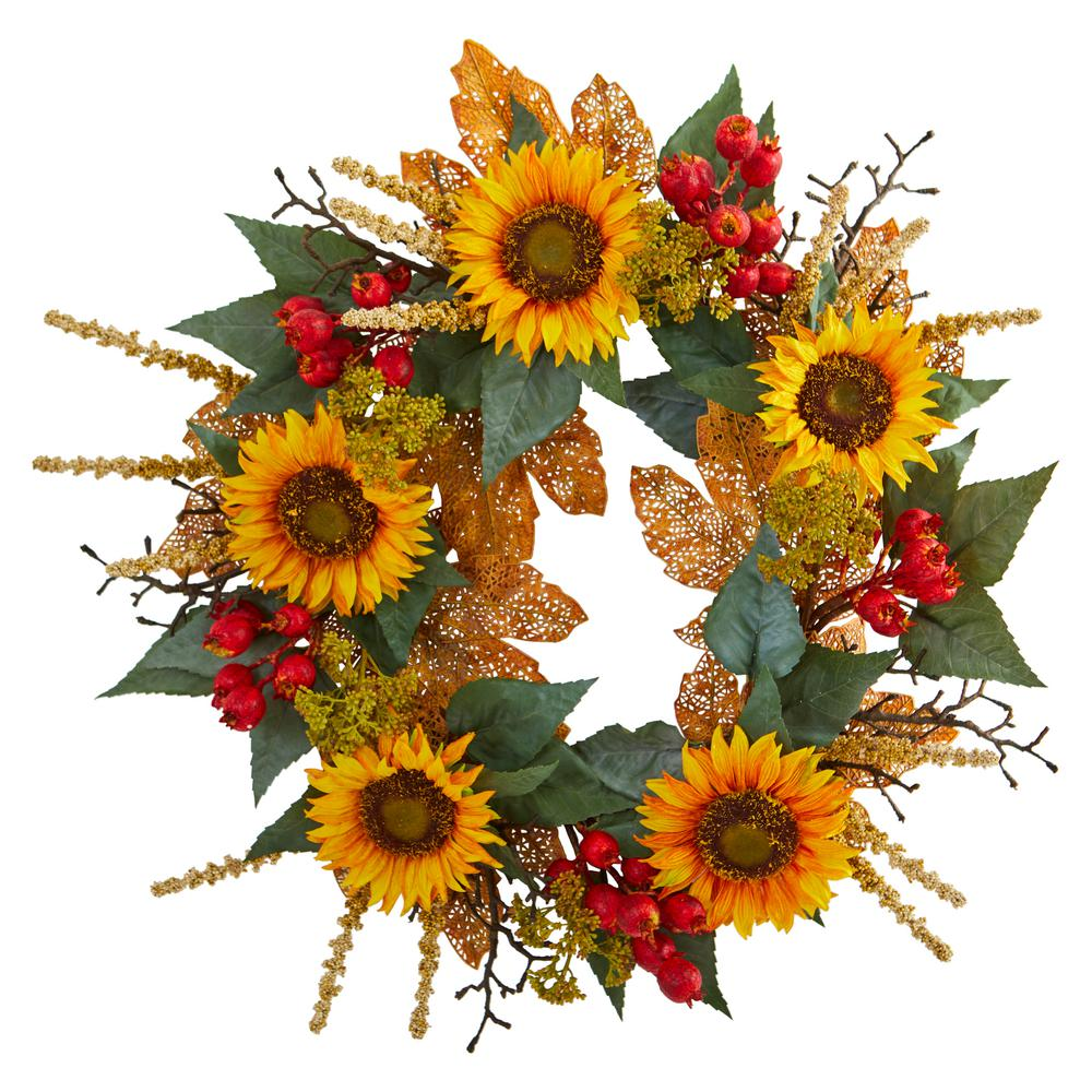 Nearly Natural 27 in. Unlit Artifical Holiday Wreath with Sunflower Berry