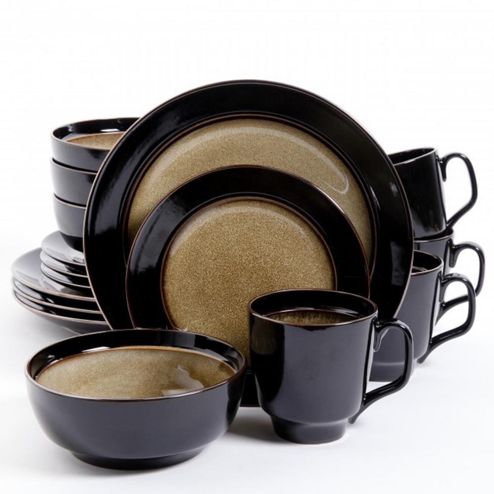 Bella Galleria 16-Piece Taupe and Black Dinnerware Set