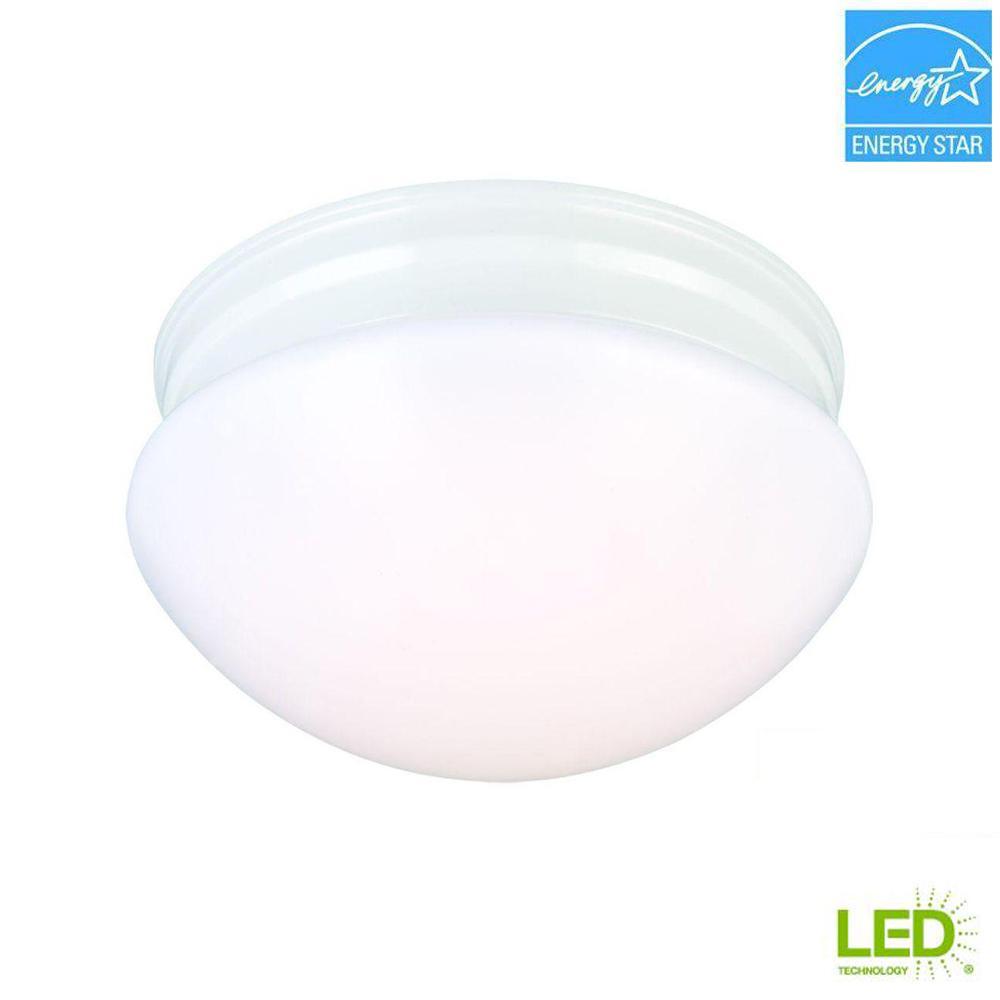 9 in. 60-Watt Equivalent White Integrated LED Mushroom Flush Mount with White Acrylic Shade