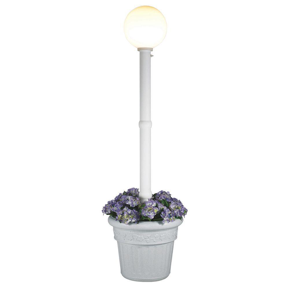 Patio Living Concepts Milano Single White Globe Plug-In White Lantern with Planter