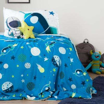 DreamIt Blue and Gray Cosmic Twin Comforter Set and Throw Pillows