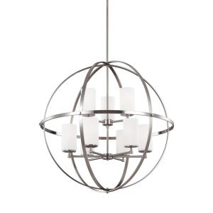 Alturas 32.5 in. W. 9-Light Brushed Nickel Multi Tier Chandelier with Glass Shades