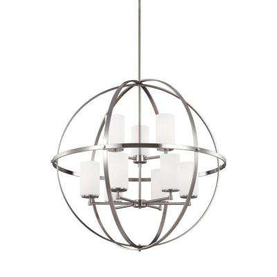 Alturas 9-Light Brushed Nickel Multi Tier Chandelier with Glass Shades