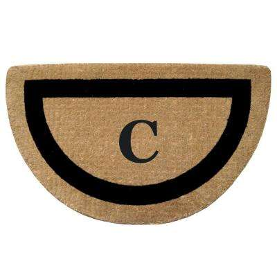 Single Picture Frame Black 22 in. x 36 in. HeavyDuty Coir Half Round Monogrammed C Door Mat