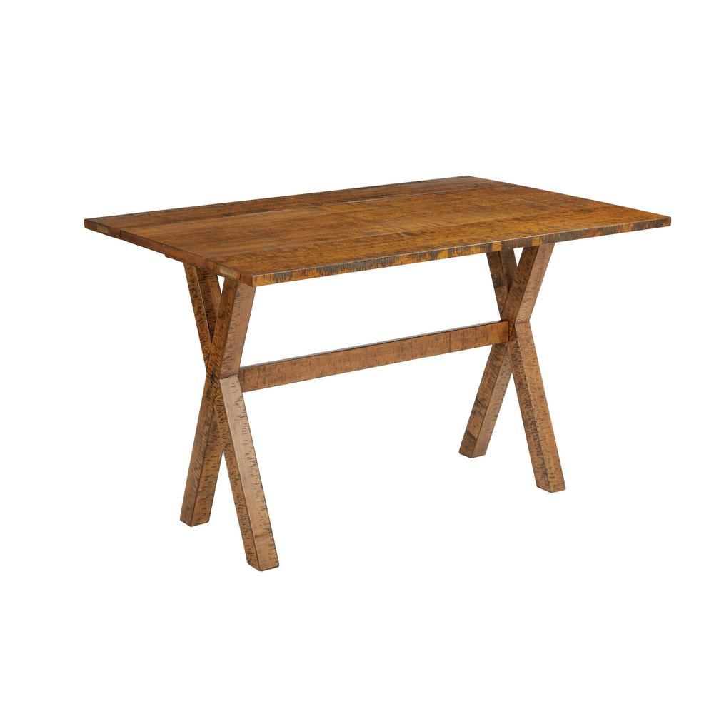 McKayla Distressed Brown Wood Flip Top Table