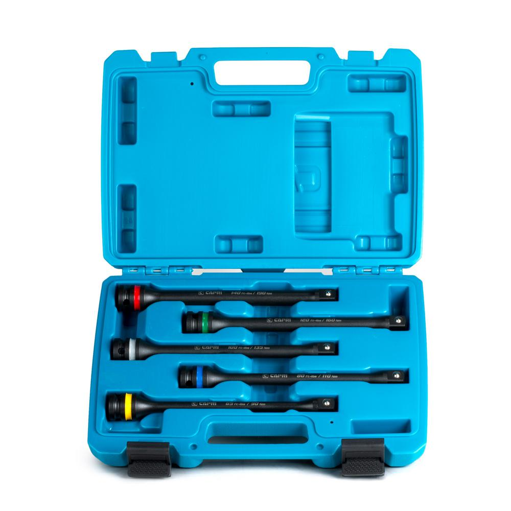 Capri Tools 1/2 in. Drive 65 to 140 ft. lbs. Torque Limiting Extension Bar Set (5-Piece)