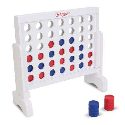 1 ft. Width Solid Wood 4 in a Row Game with Carrying Case