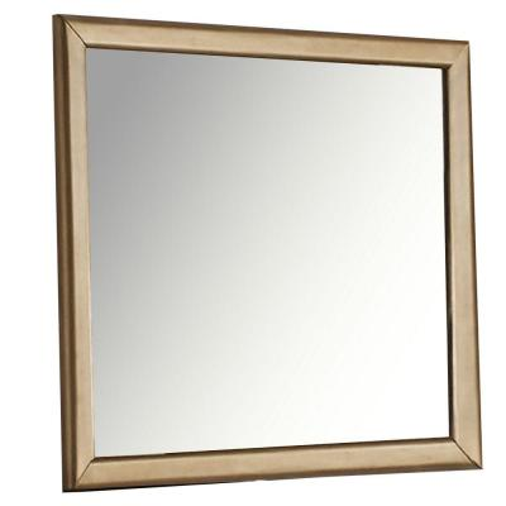 Medium Rectangle Gold Modern Mirror (36 in. H x 42 in. W)