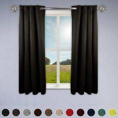 Heavy Duty Drapery 52 in. W x 63 in. H Panel in Dark Grey
