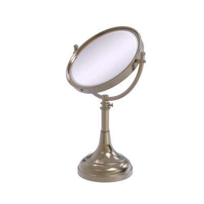Height Adjustable 8 in. Vanity Top Make-Up Mirror 5x Magnification in Antique Pewter