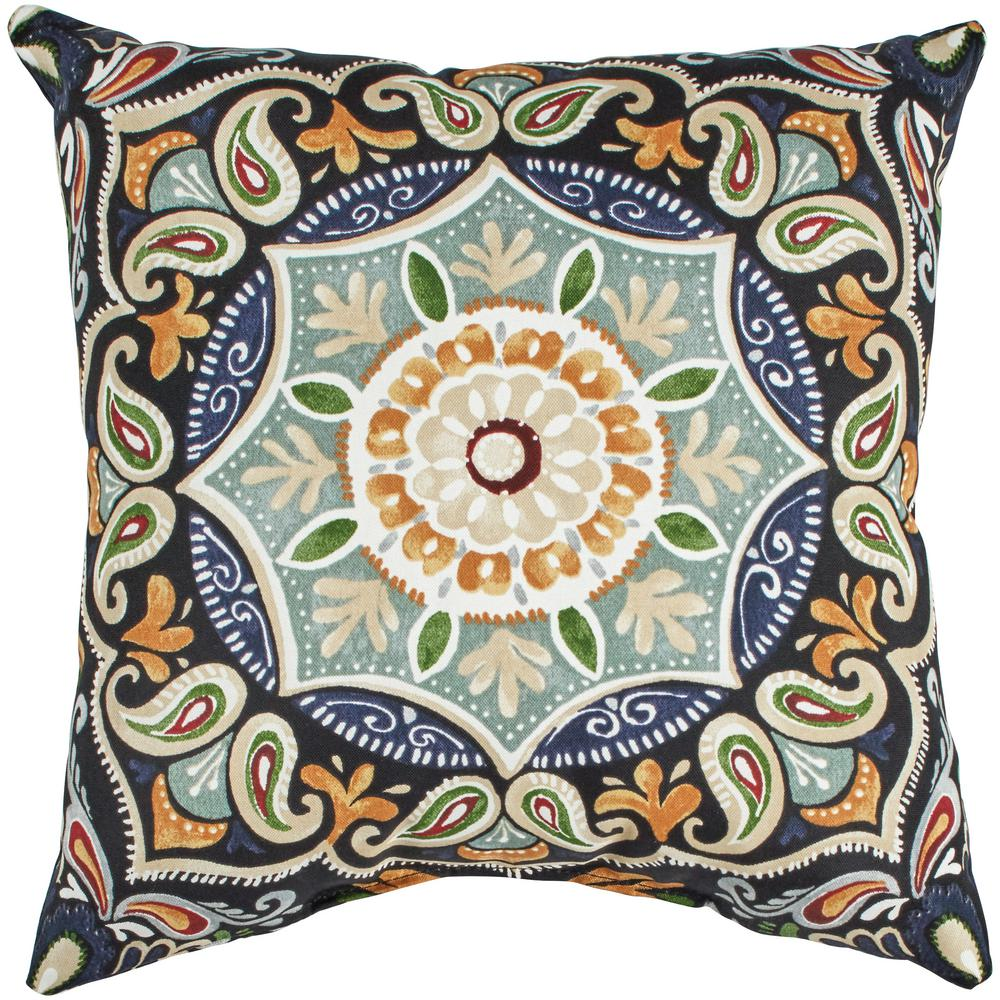 Hampton Bay Sky Medallion Square Outdoor Throw Pillow Th1c546b 9d4