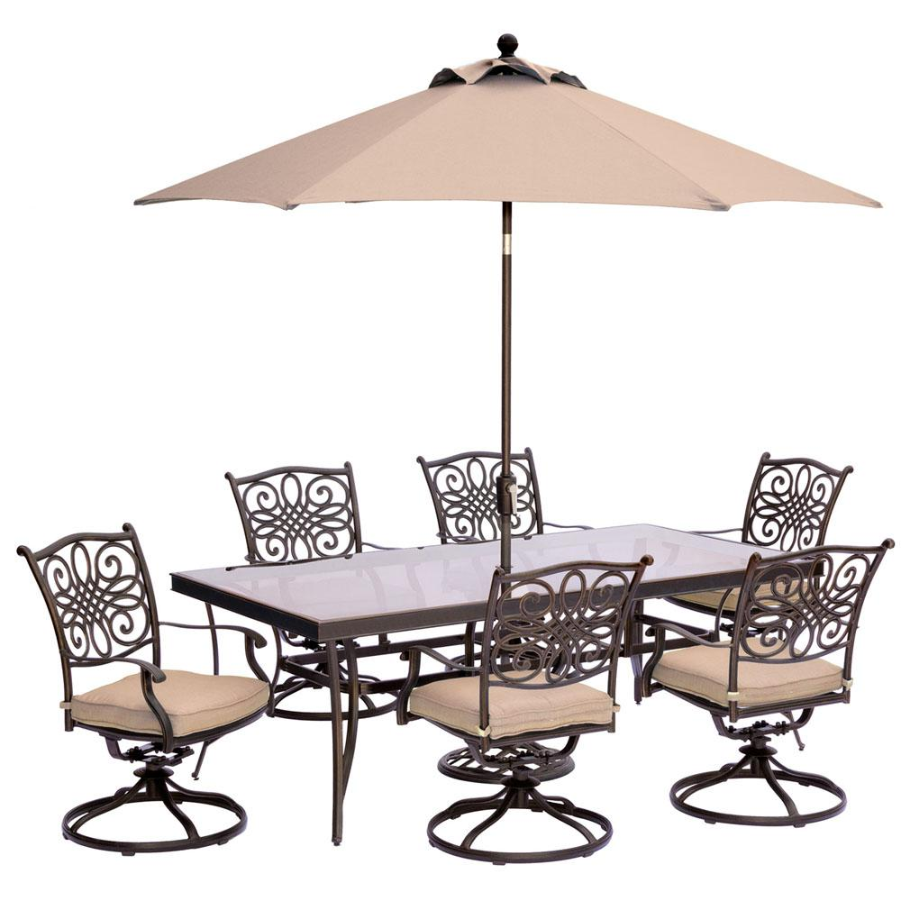 Hanover Traditions 7 Piece Outdoor Dining Set With Rectangular Glass