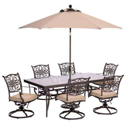 Traditions 7-Piece Outdoor Dining Set with Rectangular Glass Table, Swivels, Umbrella and Base with Natural Oat Cushions