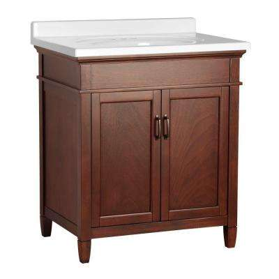 Ashburn 31 in. W x 22 in. D Vanity in Mahogany with Vanity Top in White