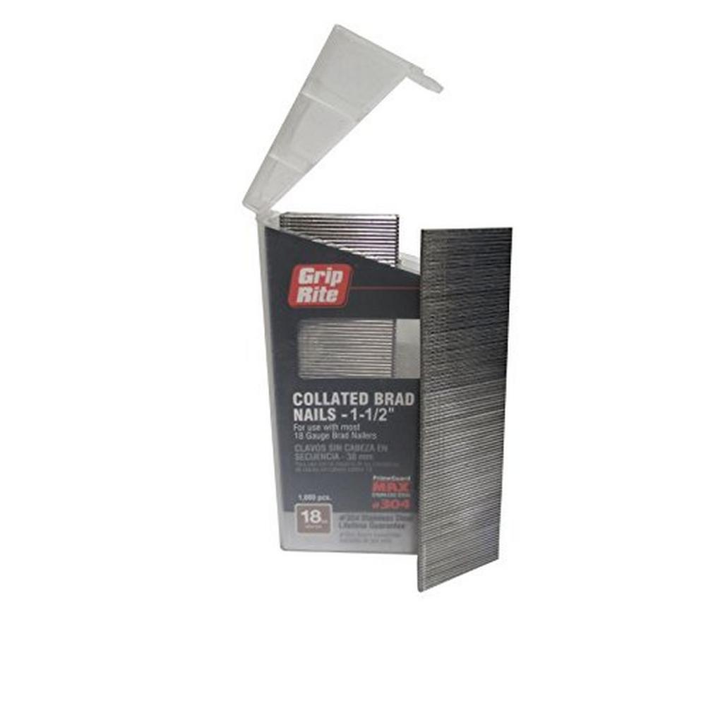 1-1/4 in. x 18-Gauge 304 Stainless Steel Brad Nails (1000-Pack)