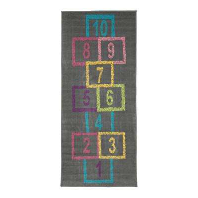 Children Garden's Collection Grey Background Hopscotch Street Chalk Design 3 ft. x 6 ft. Non-Slip Kids Runner Rug