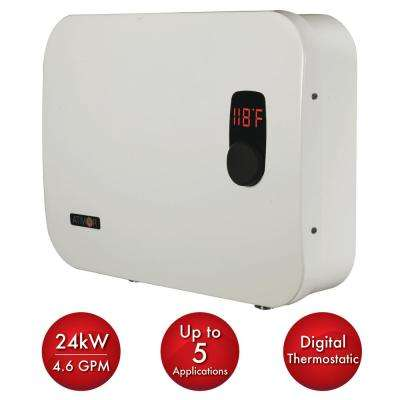 ThermoPro 24 kW/240-Volt 4.6 GPM Stainless Steel Electric Tankless Water Heater with Self-Modulating Technology in White