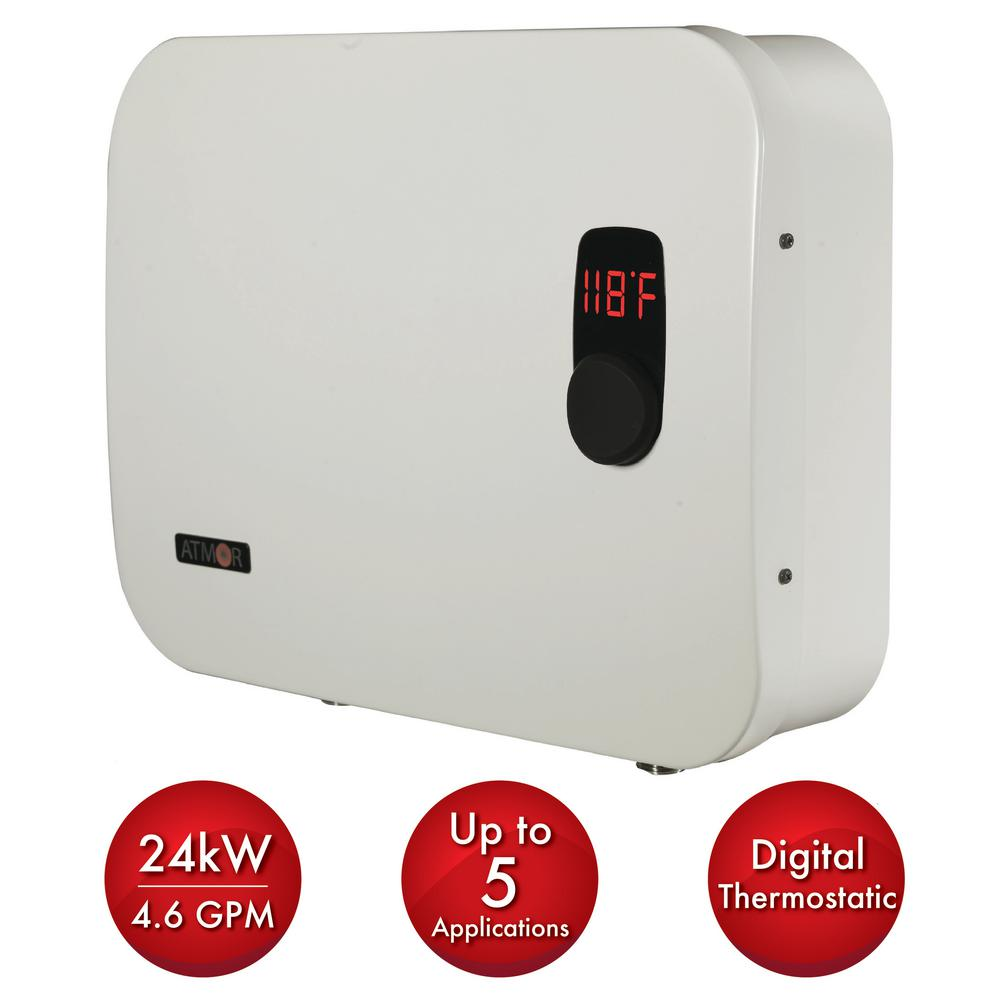 ATMOR ThermoPro 24 kW/240-Volt 4.6 GPM Stainless Steel Electric Tankless Water Heater with Self-Modulating Technology in White