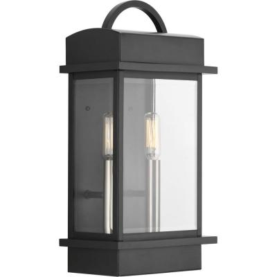 Santee Collection 2-Light Black 15.25 in. Outdoor Wall Lantern Sconce