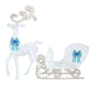 65 in. LED Lighted White Reindeer and 46 in. LED Lighted White Sleigh with Blue Bows