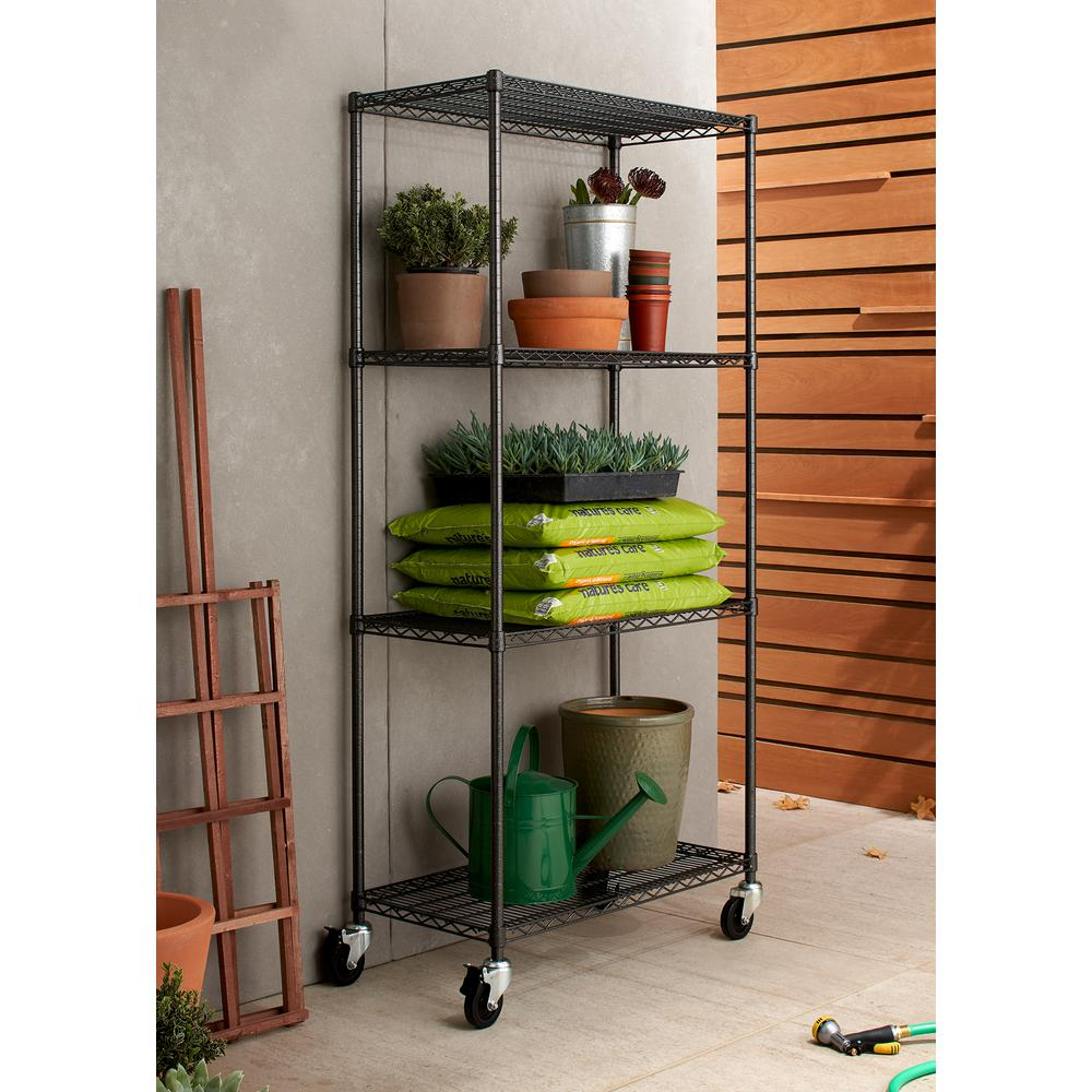 TRINITY PRO 18 in. x 36 in. x 77 in. Black Anthracite 4 tier Garage Shelving Unit with Wheels