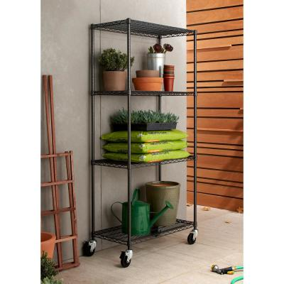 PRO 18 in. x 36 in. x 77 in. Black Anthracite 4 tier Garage Shelving Unit with Wheels
