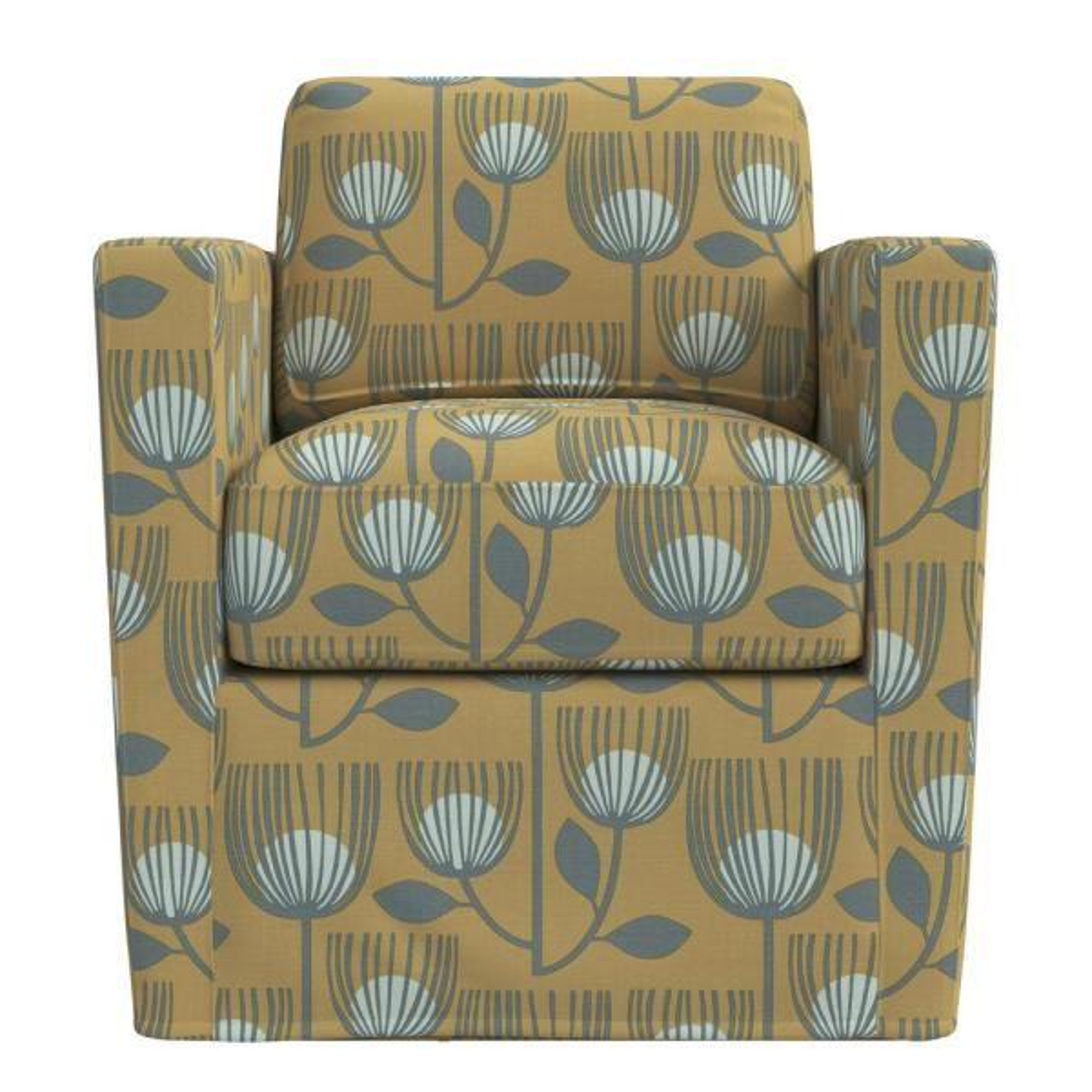Handy Living Anastasia Gold Modern Tulip Print Swivel Club Chair 340C-BRG82-952