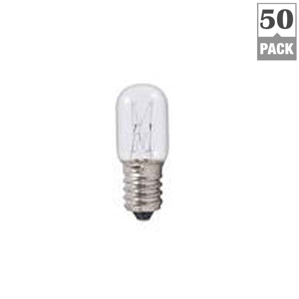 Bulbrite 8-Watt T5.5 Clear Dimmable Warm White Light Incandescent Light Bulb (50-Pack) Bulbrite's series of specialty incandescents offer a variety of lighting solutions for appliance, amusement and other specialty applications such as appliances. The low wattage of this small form factor bulb is ideal for use in sewing machines and other similar small spaces. Fully dimmable, giving you access to customized ambiance.