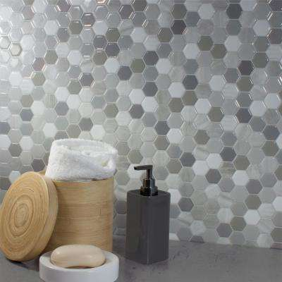 Hexagone Travertino Approximately 3 in. W x 3 in. H White and Gray Decorative Mosaic Wall Tile Backsplash Sample