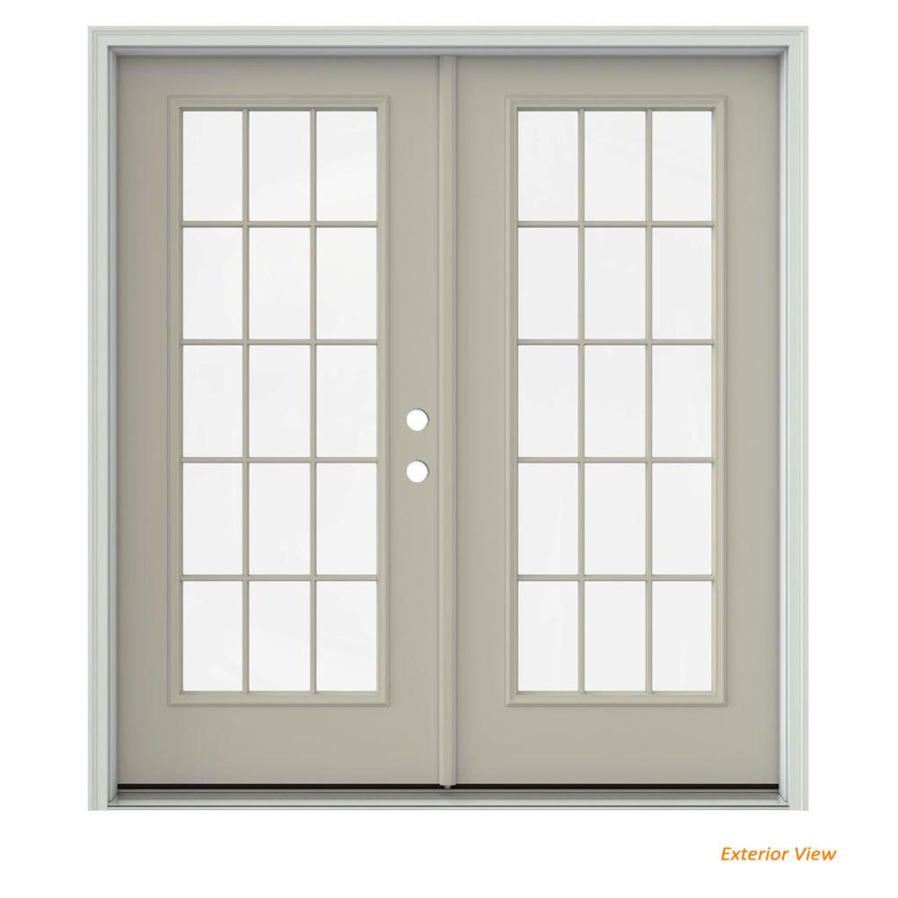 72 in. x 80 in. Desert Sand Painted Steel Left-Hand Inswing 15 Lite Glass Active/Stationary Patio Door