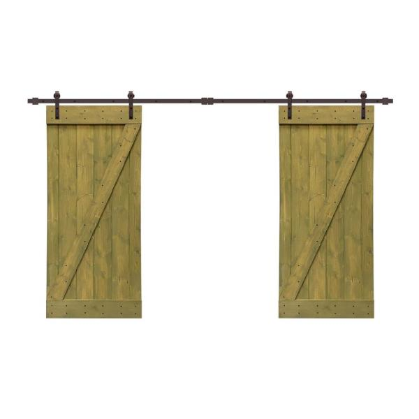 Calhome Z Bar 72 In X 84 In Pre Assembled Jungle Green Stained Wood Interior Double Sliding Barn Door With Hardware Kit Swd11 Ab 79 2 Dr Asm B36dg 2 Cnnt Ab The Home Depot