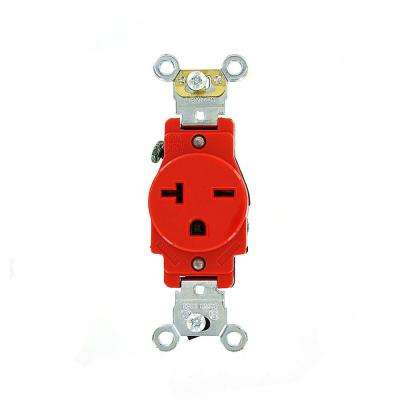 20 Amp Industrial Grade Heavy Duty Self Grounding Single Outlet, Red