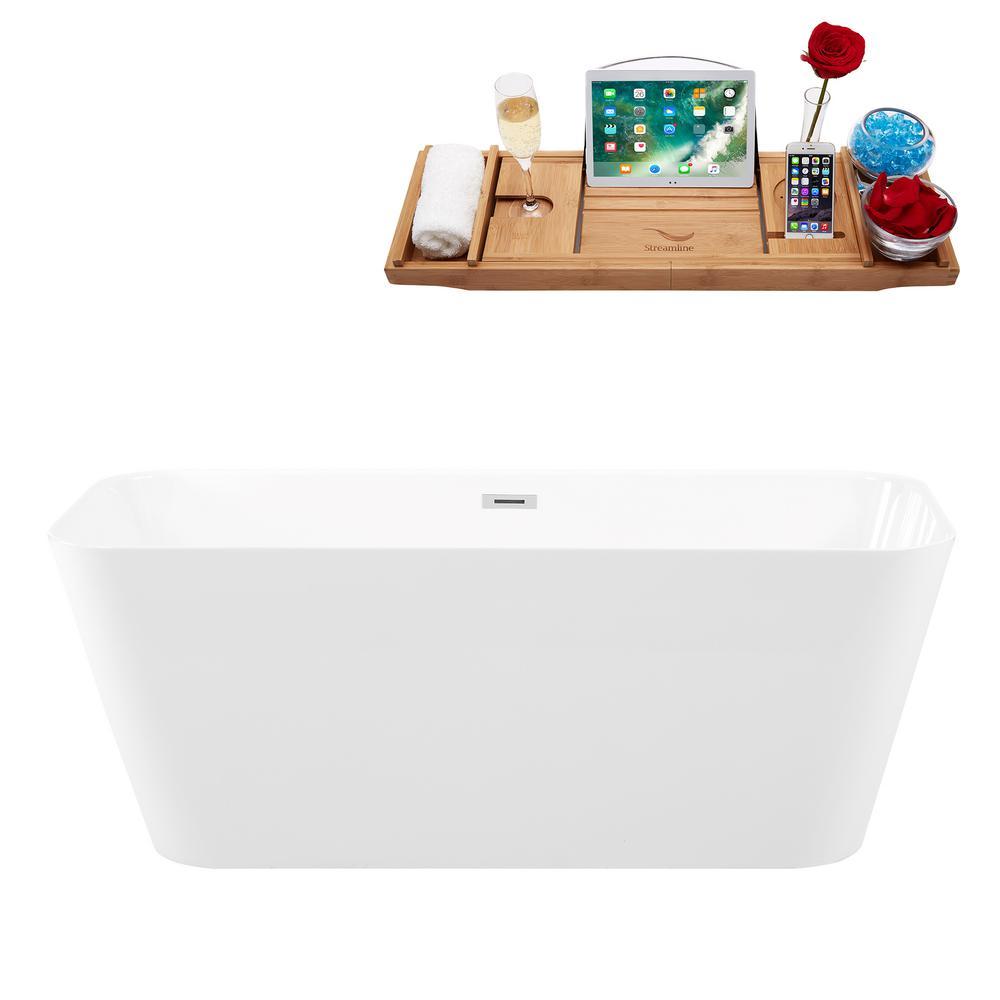 "59"" Solid Surface Resin K-82-59FSWHSS-FM Soaking Freestanding Tub with Internal Drain"