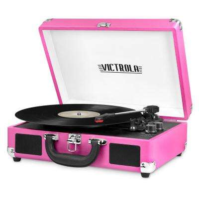 Bluetooth Suitcase Record Player with 3-Speed Turntable, Pink